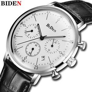 Image 3 - Biden 高級時計の男性トップブランドレザーストラップクロノグラフ防水スポーツクォーツ腕時計メンズファッションビジネス男性時計