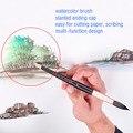 816R высокое качество белка волос деревянная ручка алюминиевый ободок акварельные принадлежности для искусства кисти художника