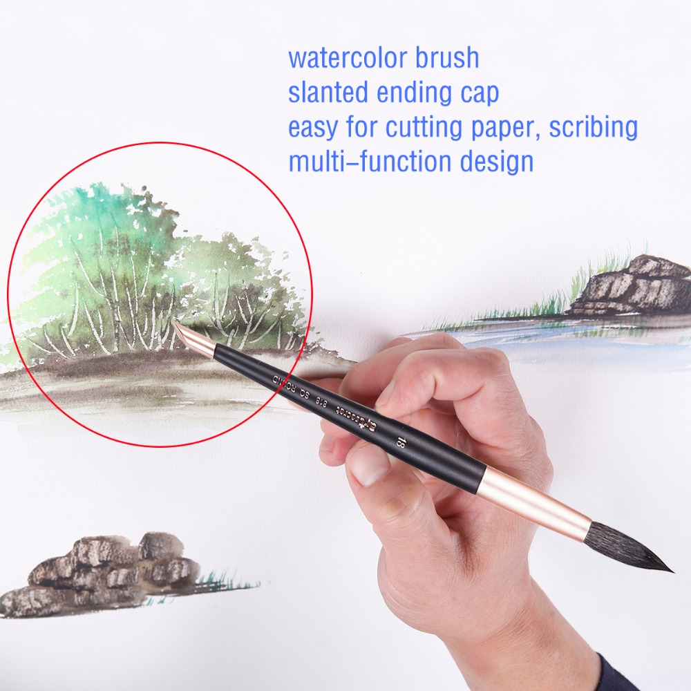 816R High Quality Squirrel Hair Wooden Handle Aluminum Ferrule Watercolor Art Supplies Artist Brush