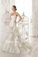 Top Quality Bridal Wedding Dress Trumpet Mermaid Sweetheart Organza Sweep Train Flowers Pleat Layers yk8Y50