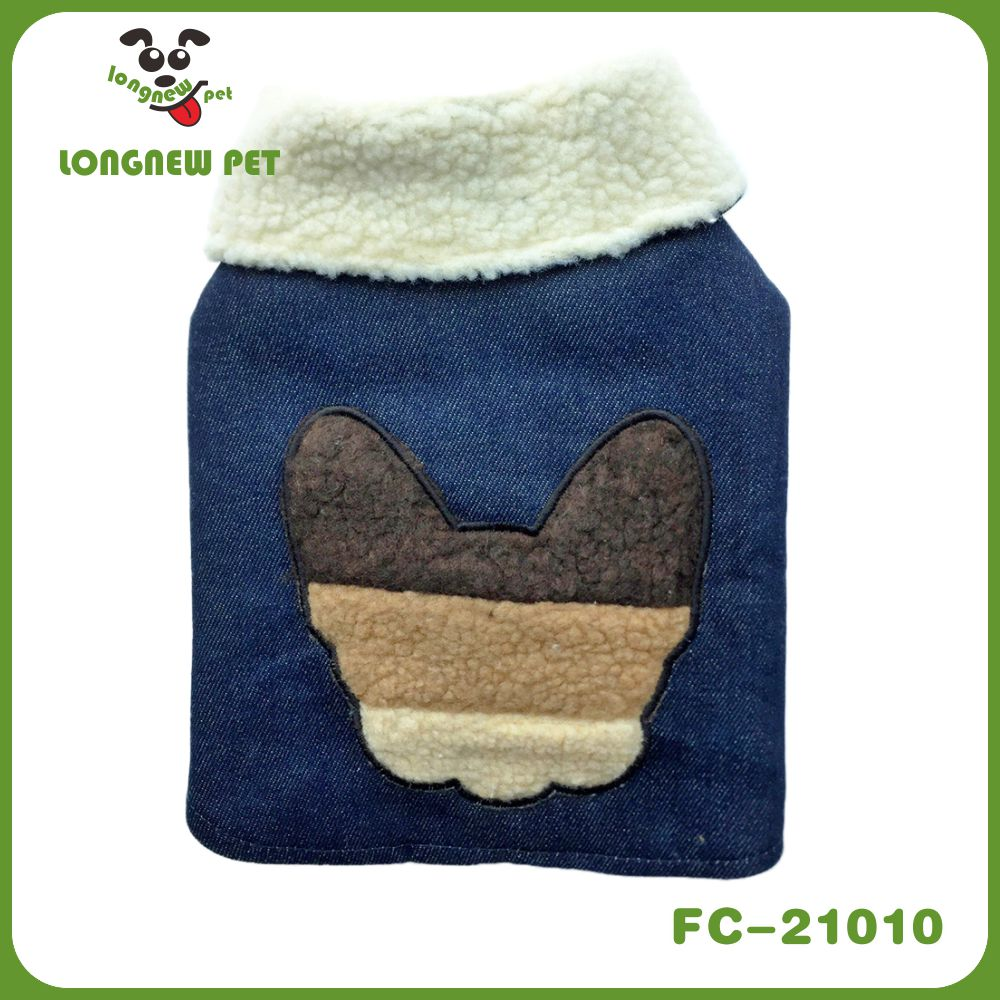 New Autumn/Winter Sporty 100% Cotton Denim Sherpa Double Layer Earth Tone French Bulldog Silhouette Embroidery Designer Coat Jac