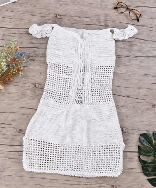 Boho Lace Up Slash-neck Hollow Out Beach Dress
