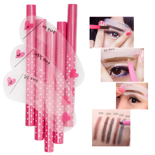 Makeup set Eyebrow Pencil + Eye Brow Stencils Eyes Cosmetics Easy to Wear Eyebrows Enhancer Pen Make up Brows Pigment Stick Tool 1