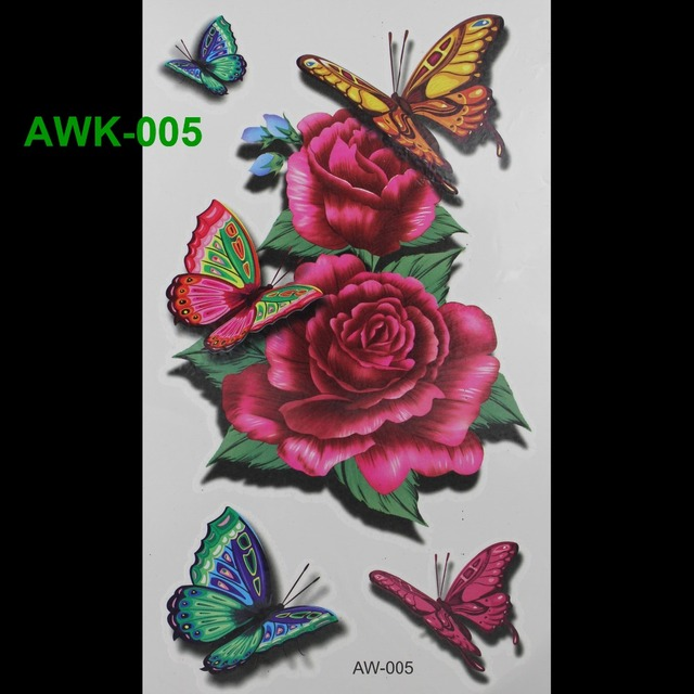 Hot Flashes Temporary Tattoos BUTTERFLY ROSE TATTOO 3D Dazzle Colour Waterproof Body Art Tatto Scar DIY Temporary Tatoo