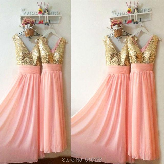 Gold Sequins V Neck Long Pink Chiffon Bridesmaid Dresses 2017 Elegant