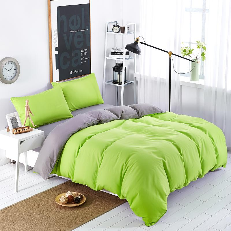 bedding sets simple color green gray striped bed sheet duver quilt cover pillowcase soft and. Black Bedroom Furniture Sets. Home Design Ideas
