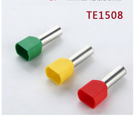 500PCS TE0508 Insulation terminal cold pressed end double line tube shaped pre insulated end head tubular terminal multi packed ve insulation terminal tube type assorted insulated spade crimp cold pressed terminals for car auto earth terminal