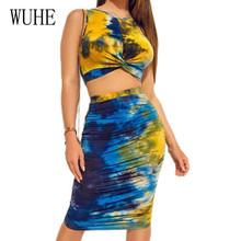 WUHE Vintage Club Wear Women Summer Sleeveless Bodycon 2 Pieces Sets Yellow Pencil Dress Elegant Hollow Out Party Vestidos Brand