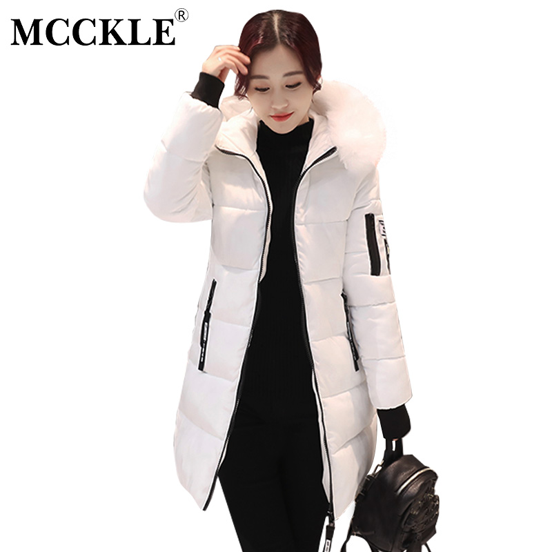 MCCKLE Women Winter Coat Thick Warm Parka With Big Fur Collar Plus Size Fashion Hooded Cotton Padded Long Puffer Coat Outerwear mcckle winter jacket with fur collar hooded cotton padded long puffer coat outwear women fashion thickening warm parka overcoat