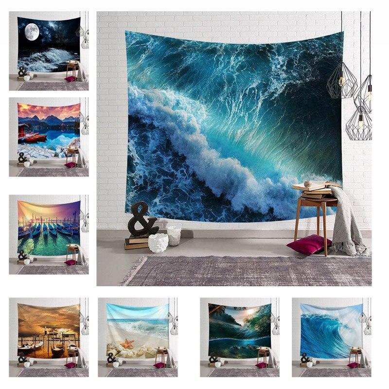 Hermosa vista al mar tapiz colgante de pared decoración del hogar Toalla de playa Picnic manta de alfombra 150 x cm/150x203 cm Envío Directo