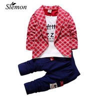 2017 Baby Boys Autumn Casual Clothing Set Baby Kids Button Letter Bow Clothing Sets Babe Jacket