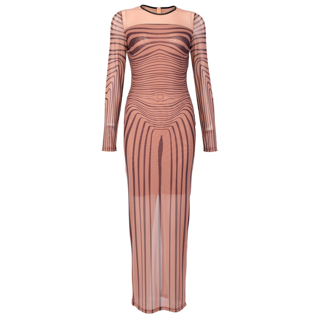 Kim Kardashian Outfit Sexy Dress Sinuous Stripe Bodycon Sheer Mesh  3