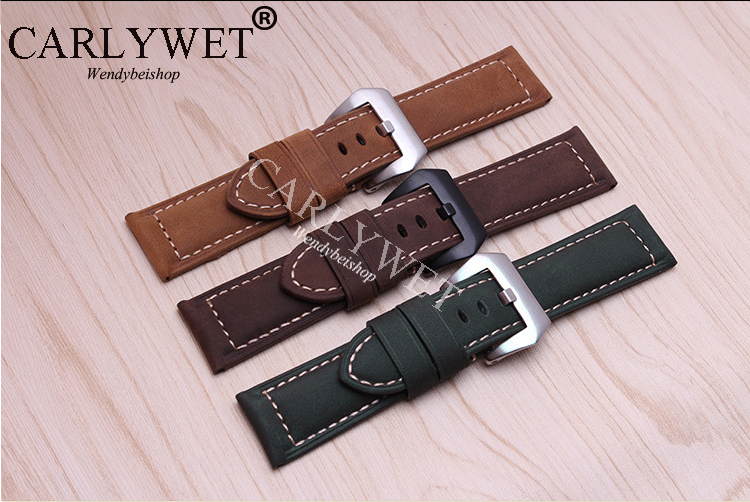 CARLYWET 20 22 24 26mm Suede Real Leather Handmade Thick VINTAGE Wrist Watch Band Band Strap