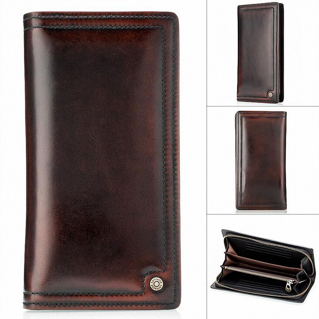 luxury real men 100% genuine leather wallet purses long vintage mens wallet leather genuine wallet man with coin pocket LI-1455