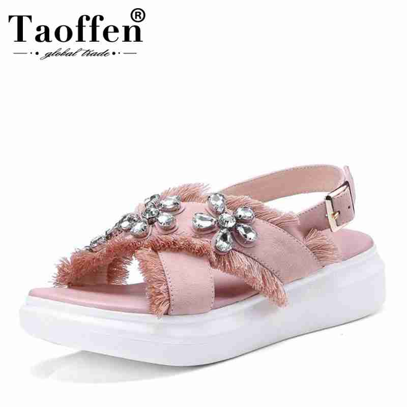 TAOFFEN Flower Wedges Sandals Genuine-Leather Women Ankle-Strap Shoe-Size Platform Summer