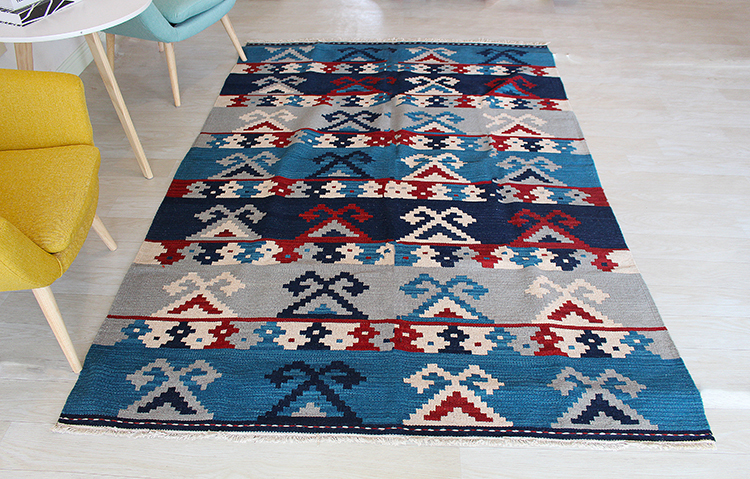 Kilim tissu Tissé pour salon motifs Géométriques géométriques Tapis En Laine - 3