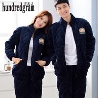 Autumn And Winter Couple Pajamas Women S Cotton Thickening Folder Men S Simple Plus Cotton Household