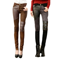 2018 spring jeans tights fashion PU patchwork skinny pants leather pants female long trousers SIZE 26 32 Brown Black Jeans