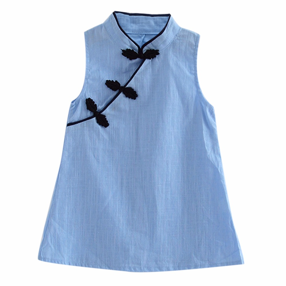 Chinese Style Baby Girls Dress Solid Color Vintage Cheongsam Kids Cotton Linen Sleeveless Dresses Party Costume Children Clothes lovely girls kids sleeveless dress peacock cheongsam chinese qipao baby clothes 2 8years