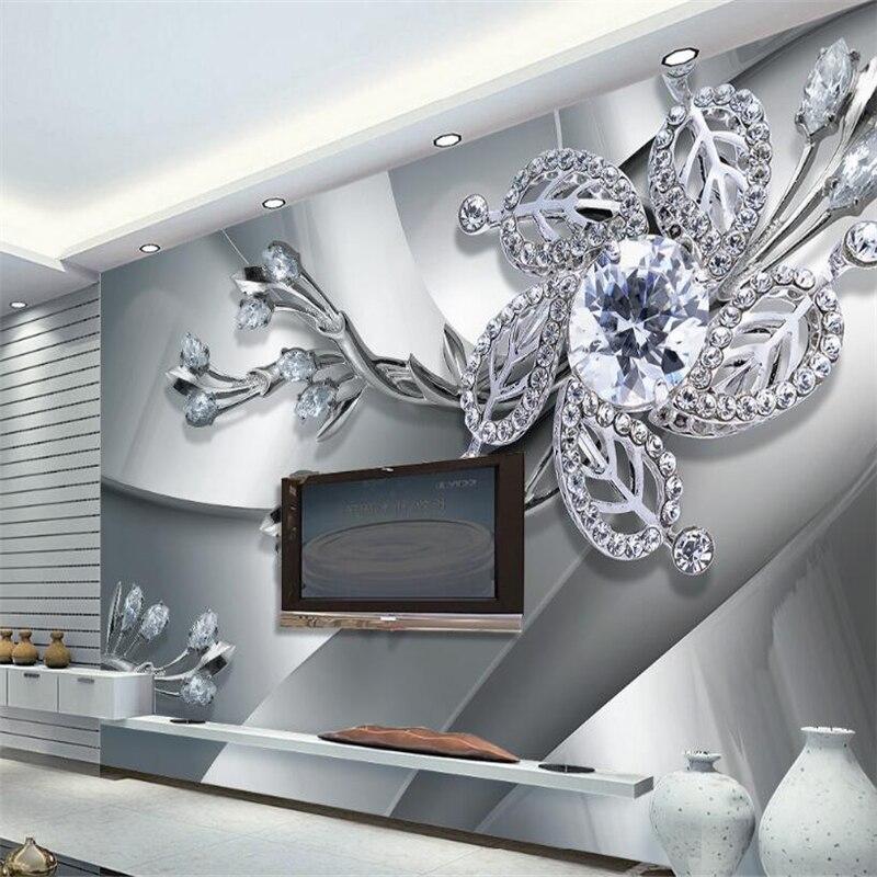 Beibehang 3D Wallpaper Cool Metal Texture Jewelry TV Background Wall Guest 3D Hall Bedroom Mural Wallpaper For Walls 3 D Photo