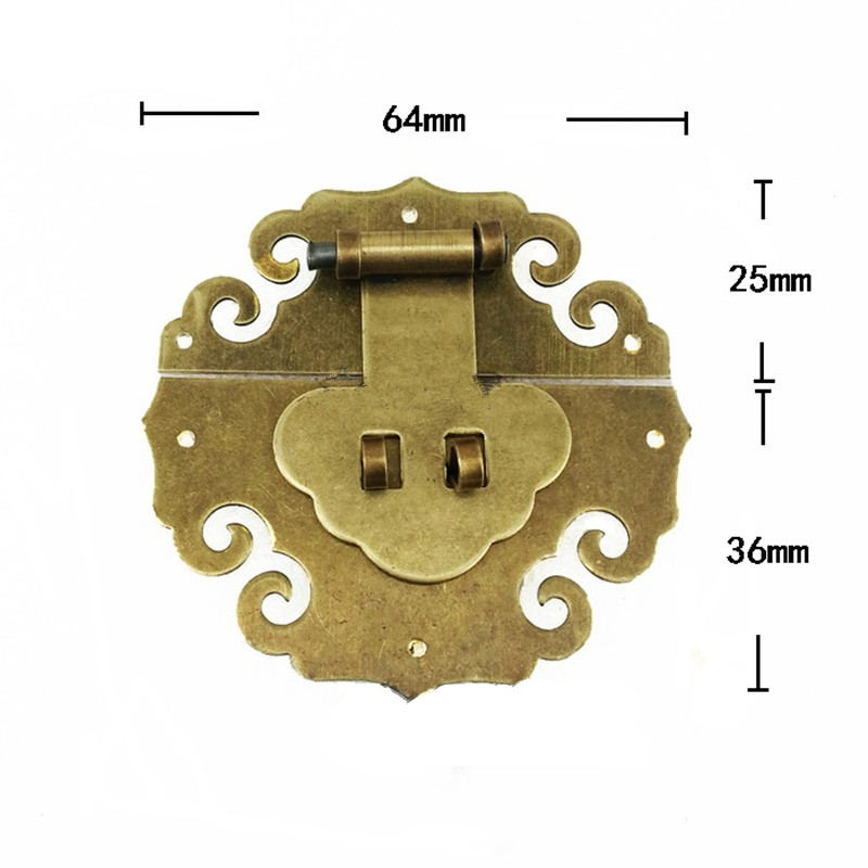 Antique Brass Latch Decorative DIY Gift Wine Wooden Box Suitcase Case Hasp Latch Cloud Lucky Hook Vintage Hardware,64*61mm 12pcs antique decorative jewelry gift wine wooden box hasp latch hook 4 screws s08 drop ship