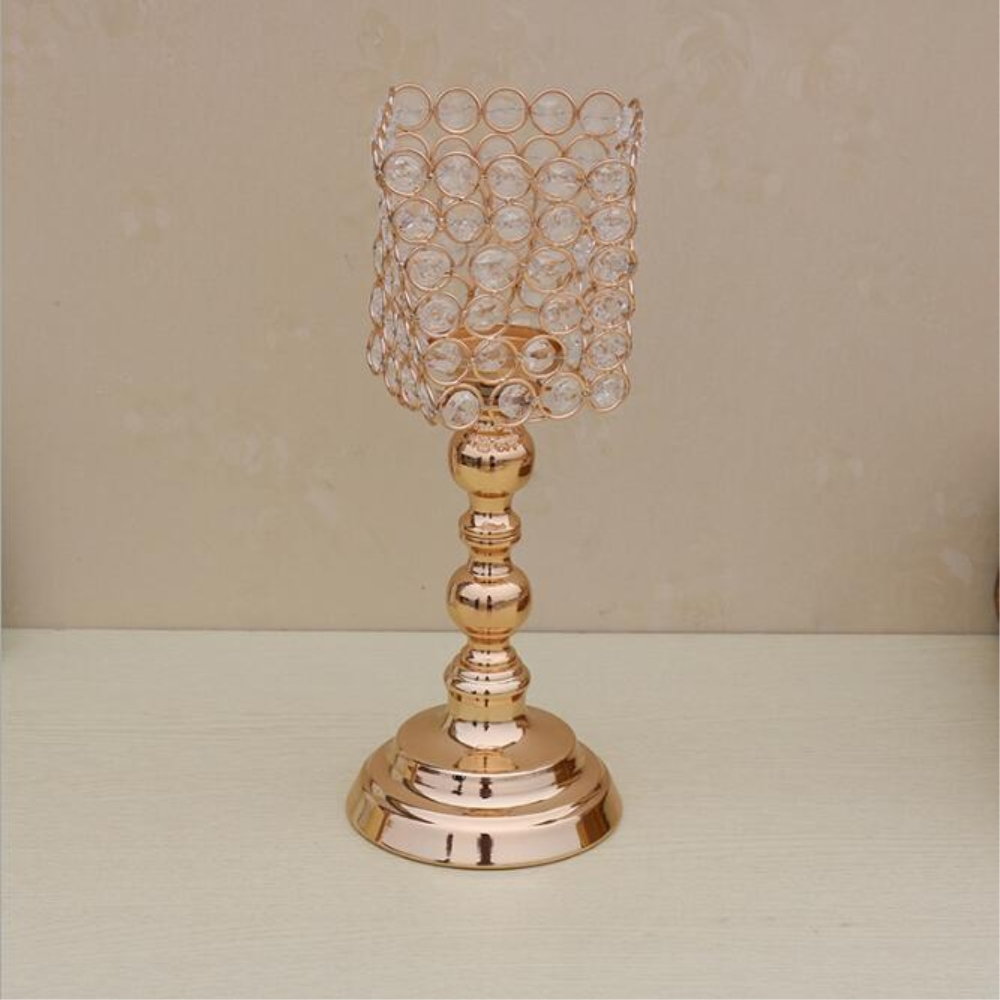 New creative metal gold plated candle holder with crystals wedding candelabra/centerpiece decoration candlestick-in Candle Holders from Home u0026 Garden on ... & New creative metal gold plated candle holder with crystals wedding ...