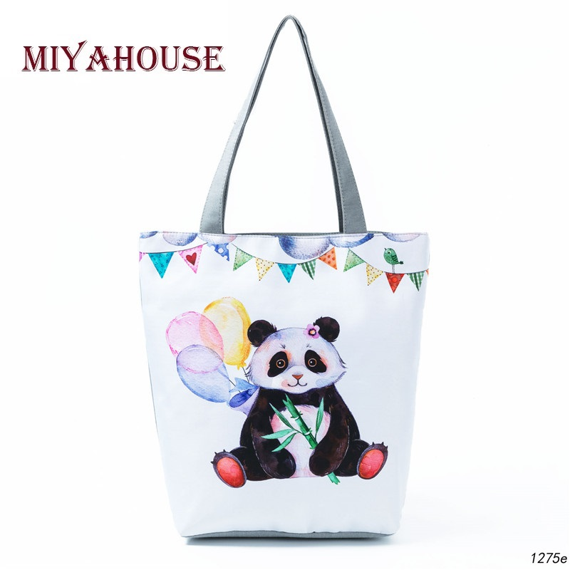 Cute Panda Printed Shoulder Bag Female Cartoon Design Canvas Tote Handbag Women White Shopping Bag Lady
