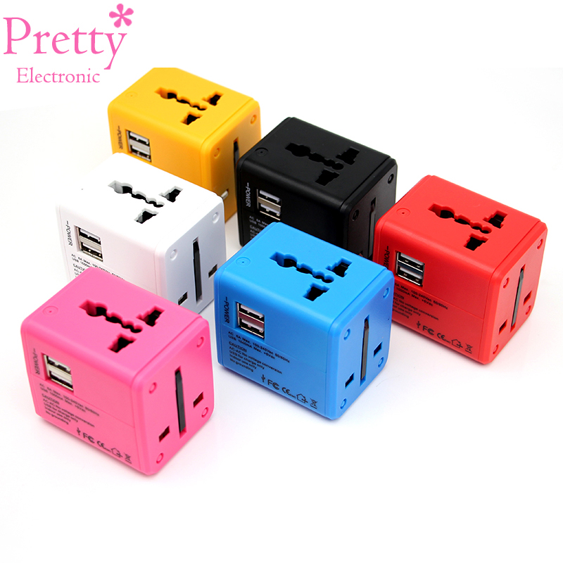Pretty Electronic Universal Travel Adapter Electric <font><b>Plugs</b></font> Sockets <font><b>Converter</b></font> US/AU/UK/<font><b>EU</b></font>/<font><b>CN</b></font> Dual USB Charging Electrical Power image