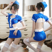 Sexy Costumes Blue Airline Stewardess Cosplay Dress For Women Short Hollow Out Skirts Suit Hostess Erotic Uniform