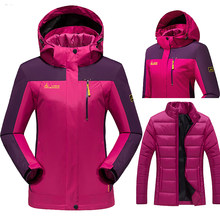 Women's jacket thick windbreaker outerwear Winter outdoor jackets coats women Windproof Hood Camping Hiking jackets three-pieces(China)