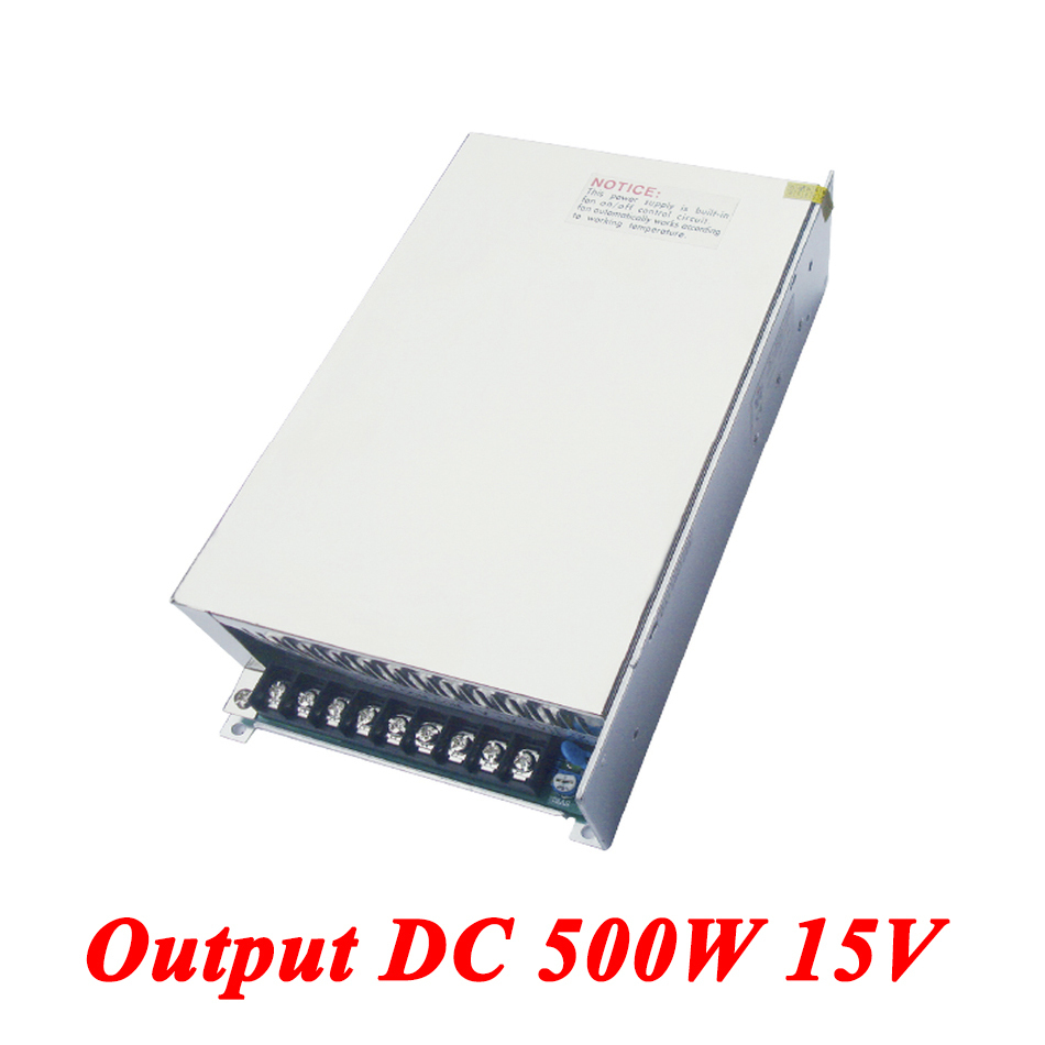 S-500-15 500W 15v 33A Single Output watt Switching Power Supply For Led Strip,AC110V/220V Transformer To DC 15V,led Driver s 100 12 100w 12v 8 5a single output ac dc switching power supply for led strip ac110v 220v transformer to dc led driver smps