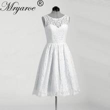Mryarce Simple Sleeveless Full Lace Short Wedding Dress Illusion Back Knee Length Bridal Dresses With Buttons