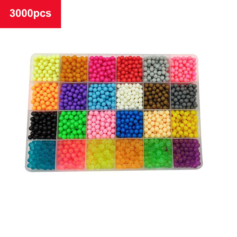 24 Colors 6000  Refill Crystal Puzzle  DIY Water Spray Beads Game 3D Handmade Toys Children Toys