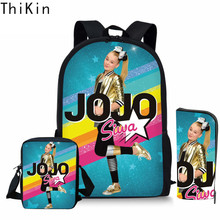 ThiKin 3pcs/set School Bag Set Superstar JOJO Siwa Girl Backpack Schoolbags for Teenage Boys Girls Bookbag Students Bagback 2019