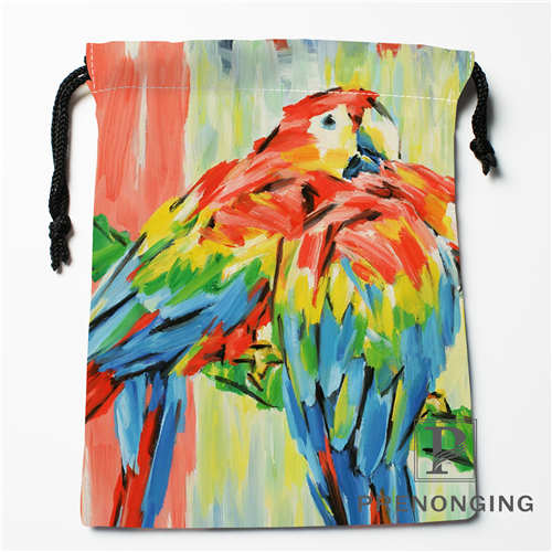 Custom Flowers Birds  Drawstring Bags Printing Fashion Travel Storage Mini Pouch Swim Hiking Toy Bag Size 18x22cm 171203-05-10