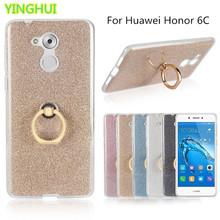 Huawei Honor 6C Case Flash powder 3D Relief Phone Case for Huawei Honor 6C Case tpu Silicone Soft Back Cover With Ring