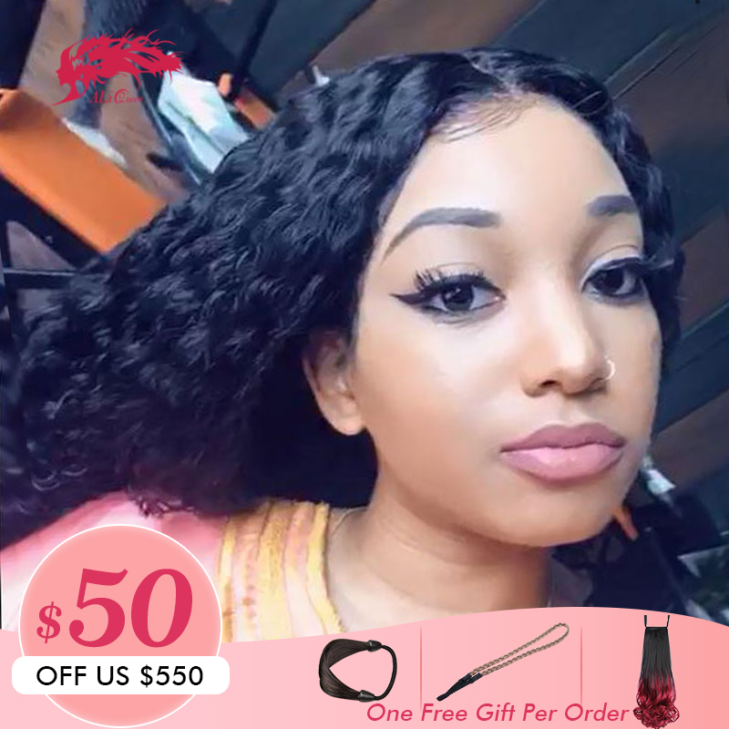 13x6 Brazilian Water Wave Lace Front Human Hair Wigs With Baby Hair Pre Plucked Hairline Ali