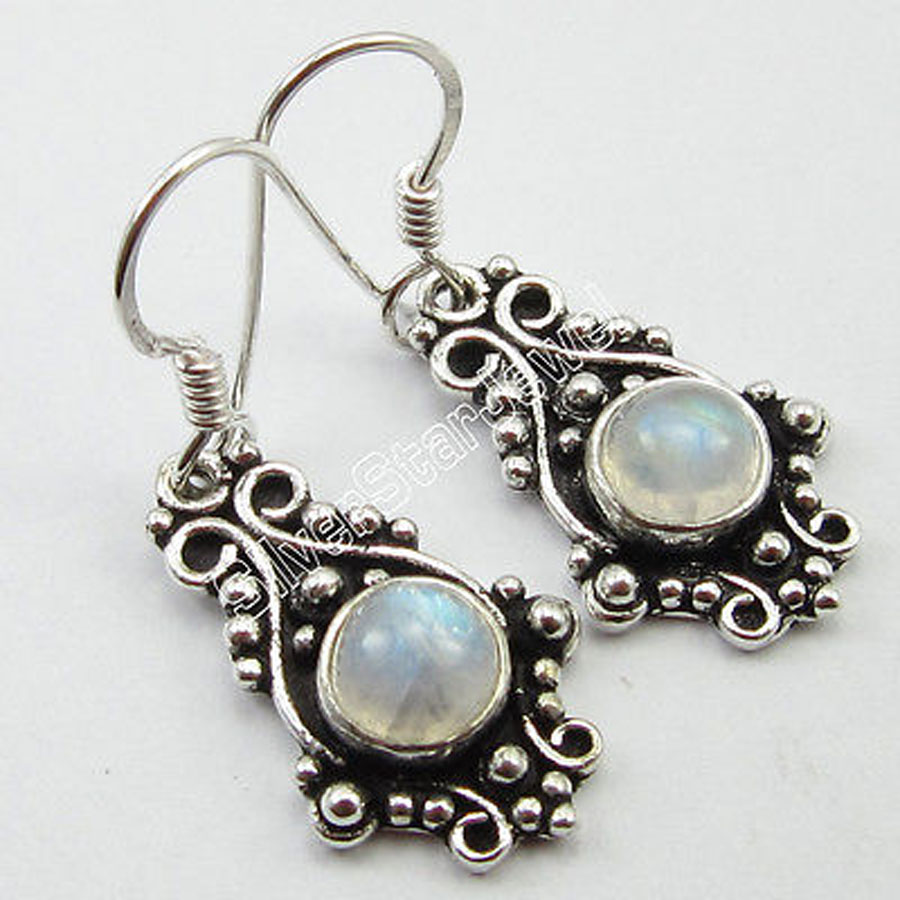 Pure Silver Natural Rainbow Moonstone Earrings Fashion Ethnic Jewelry 34  Cm(china (mainland)
