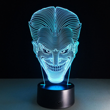 Hot sale Smile Jack Colorful gradient 3D night light Creative remote control or touch switch night light led table lamp