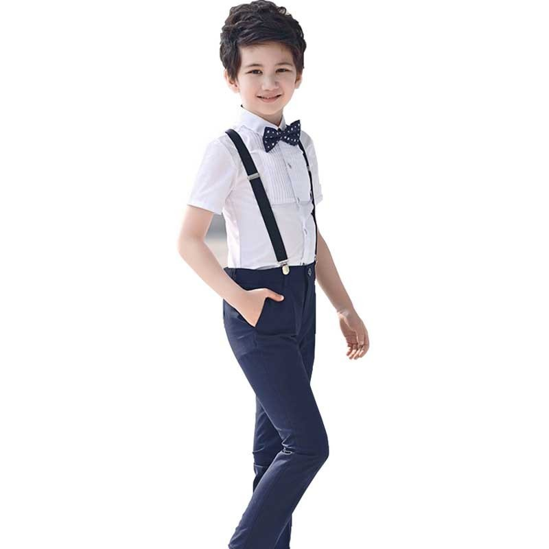 Boys' Formal Suspender Set Toddler Boys Outfits Suit Infant Clothing Big Boy Clothes Sets Gentleman Top+Tie+Suspender Pants 4PCS top and top summer toddler boy clothes gentleman boy clothing set bow tie romper top straps shorts boys wedding party clothes