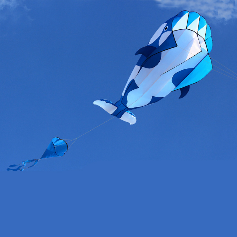 Купить с кэшбэком Professional  Power 3D Cartoon Whale Software Kite / Animal Kites Single Line With String Good Flying