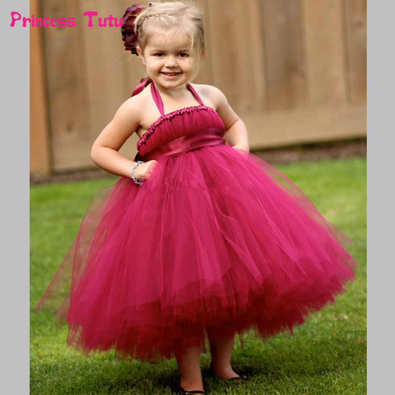 Princess Tutu Dress Baby Girl Tulle Flower Girl Dresses Kids Pageant Ball Gown Girls Party Prom Birthday Wedding Dress Vestidos ball gown sky blue open back with long train ruffles tiered crystals flower girl dress party birthday evening party pageant gown