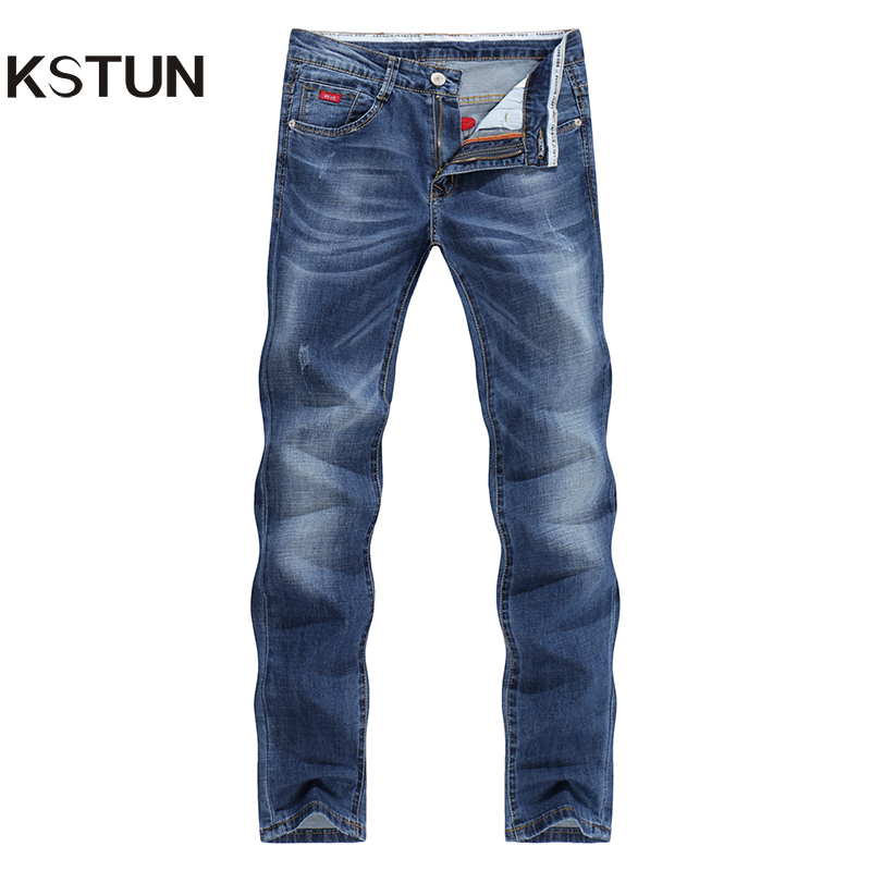 KSTUN Jeans Men 2017 Summer Thin Strech Business Casual Straight Slim Fit Jeans Denim Pants Trousers Classic Cowboys Young Man fongimic new men clothing summer thin casual jeans mid waist slim long trousers straight high quality men s business denim jeans