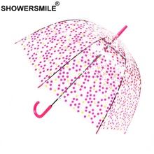 SHOWERSMILE Transparent Long-Handle Rain Umbrella Women Wave Point See Through Dot Umbrellas Female Sun Pink Hanging Parapluie