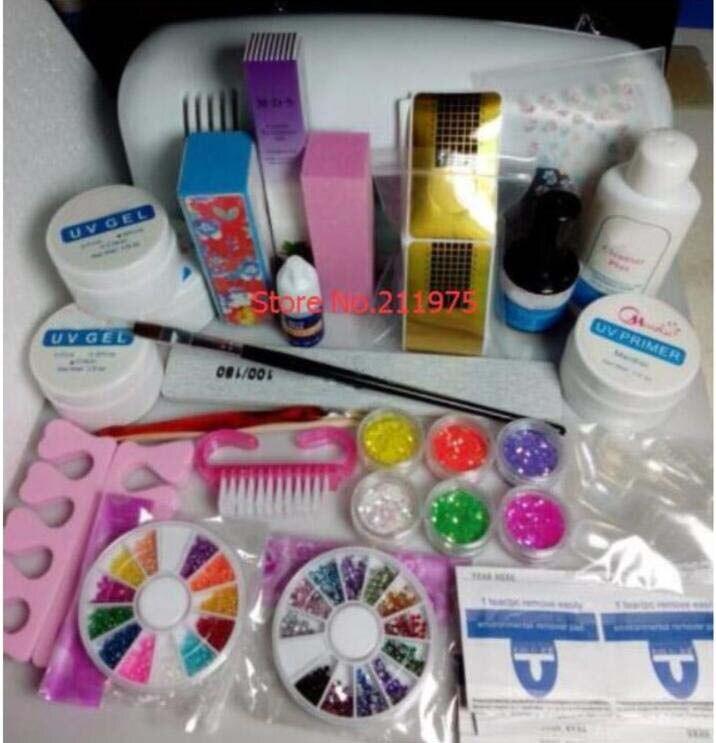 Free Shipping Professional Nail Art Kit Color Uv Gel Full: 2018 Professional Full Set UV Gel Kit Nail Art Set + 9W