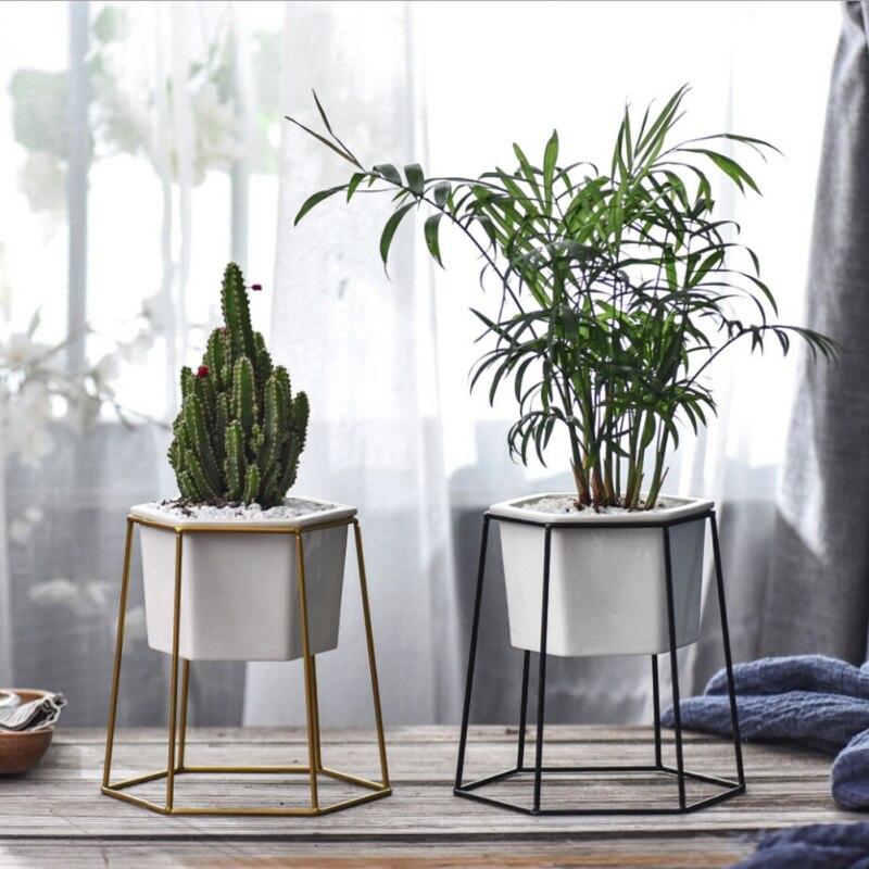 Support en fer Pots en céramique Vase de bureau blanc petit Pot Succulent en céramique
