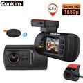 Conkim Dual de la lente del coche Dash Camera GPS DVR frente 1080 P FHD + cámara trasera 1080 P FHD aparcamiento guardia auto Secretario Mini 0906 Novatek