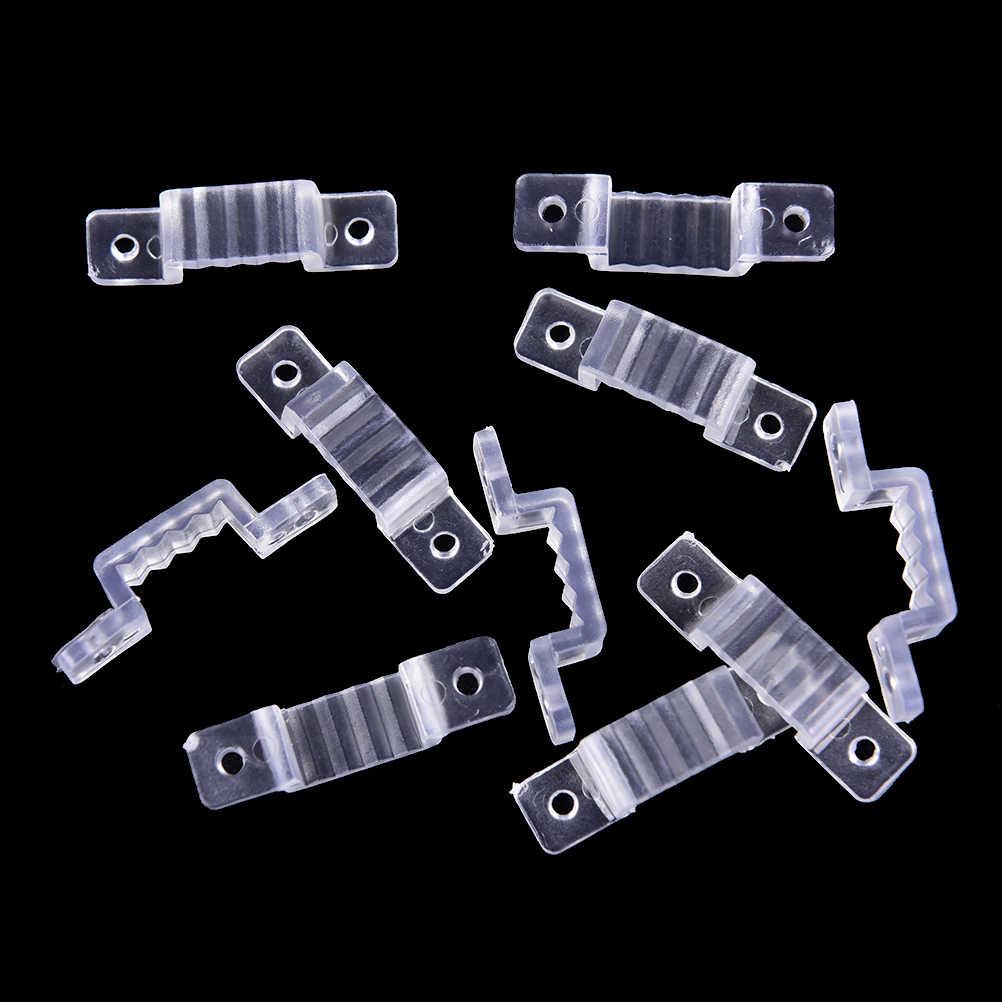 10 sztuk/partia 8mm szerokość silikonowe mocowanie złącza do 220V wodoodporny dla naprawiono 5050 3528 uchwyt do mocowania taśmy ledowej