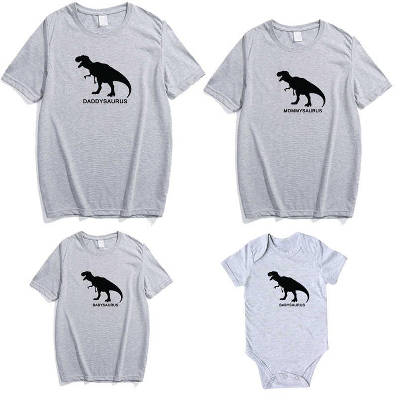 Padre Madre Figlio Figlia di Famiglia Vestiti di Corrispondenza Dinosauro Look Outfit Abbigliamento T shirt Mamma Papà Mamma e Me Baby Della Ragazza mama