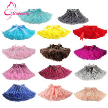 Free Shipping 2-18 Years Fluffy Chiffon Pettiskirts Baby 14 Colors tutu skirts girls Princess Dance Party Tulle Skirt